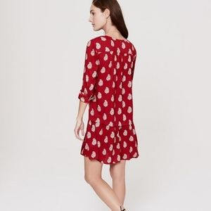 LOFT Dresses - LOFT Red Paisley Drop Waist Long Sleeve Dress